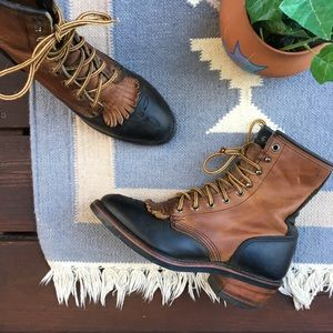 Vintage Leather Two Tone Boho Boots